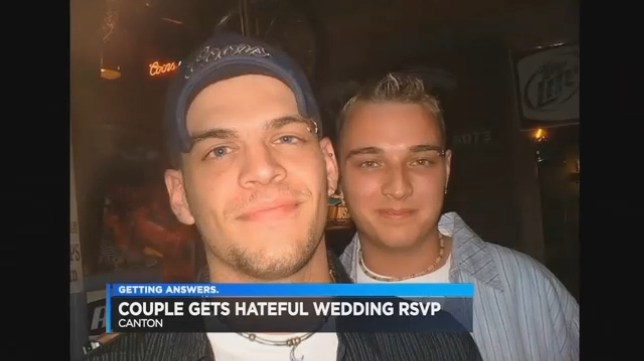 """LINK BACK - http://www.cleveland19.com/story/31736527/church-hosting-card-shower-for-same-sex-recipients-of-hate-mail A same-sex couple less than a month away from getting married received an act of hate in the mail that seemingly came out of nowhere. The Canton couple sent out wedding invitations for family and people they thought were friends. But an RSVP they got back was a horrible lesson in hate. Keith and Chad of Canton were counting down the days until their wedding -- just 30 days to go -- when they got a letter in the mail. """"So I opened it up, I saw it, I read it and I was like it's almost got to be a joke, it doesn't seem real,"""" Keith said. """"You have sent an invitation to the wrong people,"""" the letter reads. """"It's not normal for 2 men to marry. What is wrong with you, it's a sin!!!!"""" The letter was typed and unsigned. The envelope had no return address on it. Click on the photo to read the full letter. The sender said invitations were forwarded to an anti-gay group which would protest at their wedding."""