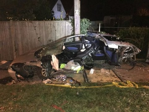 Driver manages to split car in two, walks away unharmed