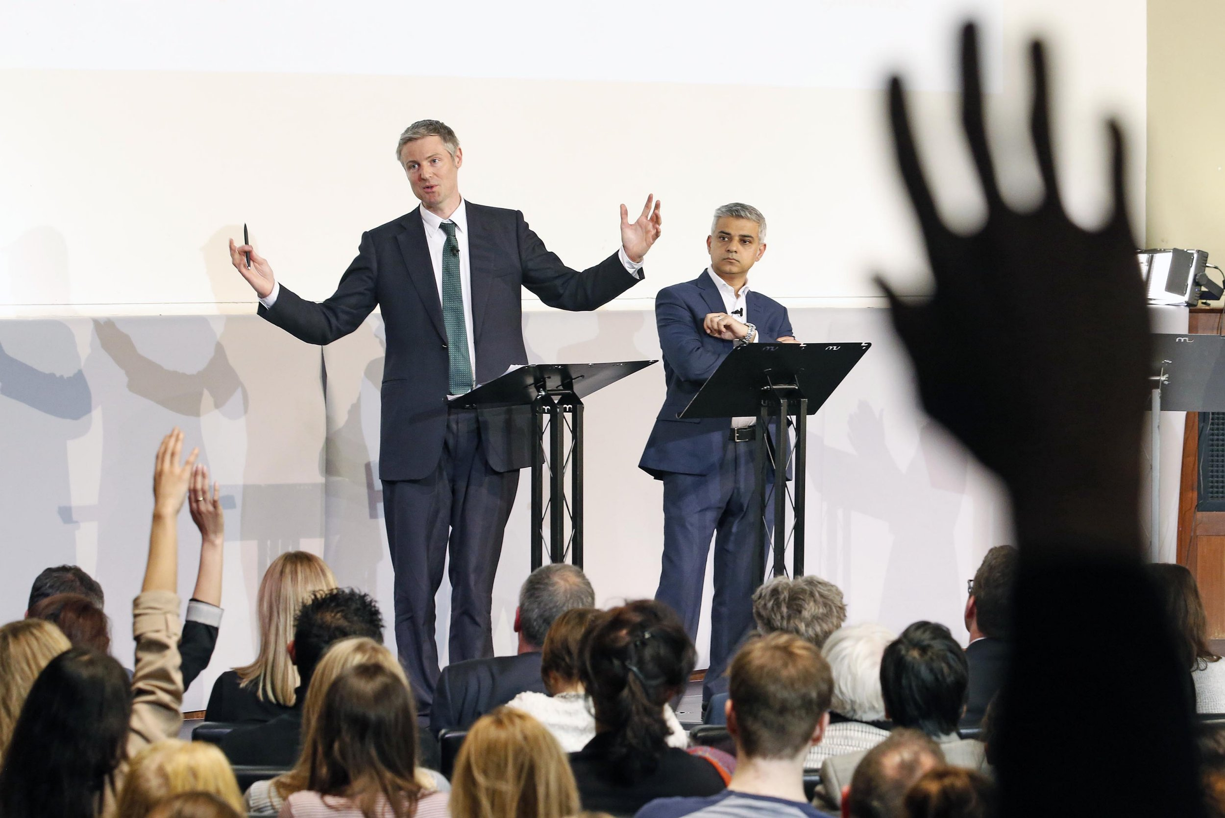 London Evening Standard Mayoral Debate with Sadiq Khan and Zac Goldsmith. A member of the audience holds up their hand wanting to ask a question...PICTURE BY: NIGEL HOWARD ©..email: nigelhowardmedia@gmail.com London Mayoral Hustings
