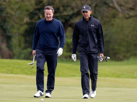 Barack Obama tells reporters he was 'robbed' as he plays David Cameron at golf