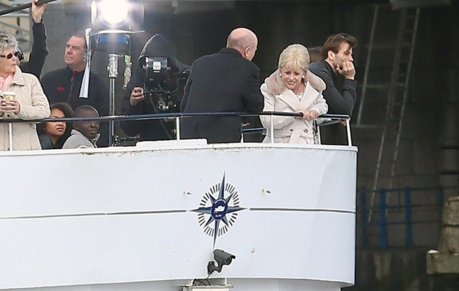Barbara Windsor shooting her last scenes for EastEnders. Peggy Mitchell's very last scenes with her on screen son Phil aboard a river boat on the Thames