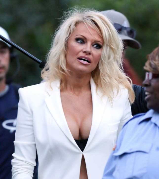 21.April.2016 - Tybee - USA *PREMIUM EXCLUSIVE* **MUST CALL FOR PRICING* **STRICTLY NO WEB USAGE* *** STRICTLY AVAILABLE FOR UK USE ONLY *** Pamela Anderson, veteran of the Baywatch TV Series, shows up to the set. As of a couple of months ago, the actress was not keen on making an appearance in the film, but it looks as though she might have changed her mind after all. Pam is seen wearing a low cut white blazer paired with matching white pants. BYLINE MUST READ : FameFlynet/AKM-GSI-XPOSURE ***UK CLIENTS - PICTURES CONTAINING CHILDREN PLEASE PIXELATE FACE PRIOR TO PUBLICATION *** *UK CLIENTS MUST CALL PRIOR TO TV OR ONLINE USAGE PLEASE TELEPHONE 0208 344 2007*
