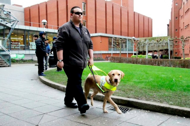 Charles Bloch with his dog Carlo. Taxi-booking phone app Uber has apologised to a blind student after one of its drivers refused to take his guide dog. See NTI story NTIUBER. Charles Bloch, 22, a De Montfort University undergraduate, said he was considering taking legal action against the company after a city-based cabbie denied him service, citing religious reasons. The digital marketing and social media student said the incident happened on Friday, when he was trying to travel from the city centre to Spinney Hill Park with his two-year-old canine companion, Carlo. He said he used the Uber smartphone app, which lets people book local taxis at the press of a button, to hire a cab. He said he then followed up with a phone call, to let the driver know there would be additional four-legged passenger. However, Charles said he was told the booking would have to be cancelled because the driver did not take dogs.