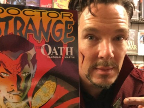 Just Benedict Cumberbatch making a surprise visit to a comic book store in his Doctor Strange costume