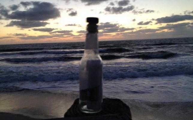 Man finds heartbreaking letter in a bottle on the beach from boy to his dead best friend CREDIT: STEVE MERSHON/FACEBOOK