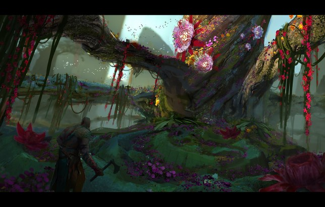 We bet that's Yggdrasil, the world tree (video games have taught us so much about Norse mythology)