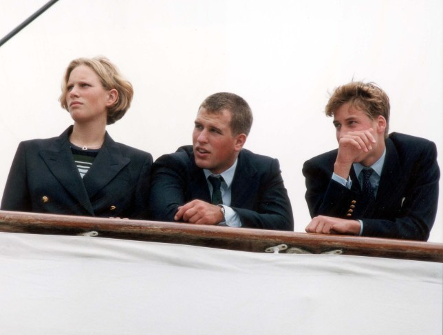 """LP3D PRINCE WILLIAM- A LIFE IN PICTURES Prince Harry, Zara Phillips, Peter Phillips and Prince William on board """"Britannia"""" for what could be the Royal Family's last summer holiday aboard the yacht. The Annual trip to Balmoral via the Western isles. Neg no: 268352-2 . **Original print stored in box 20516847 at Wincanton **"""