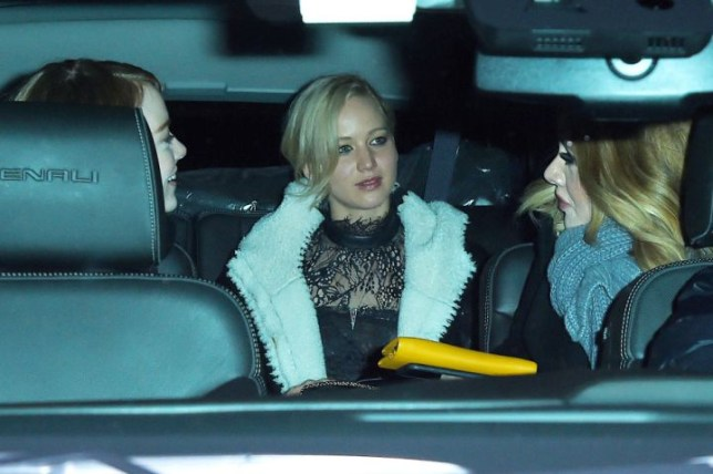 Singer Adele, Actresses Jennifer Lawrence, and Emma Stone go for dinner at Cosme Mexican restaurant in the Flatiron in New York, United States on November 23, 2015. NEW YORK - NOVEMBER 23: Adele, Jennifer Lawrence, and Emma Stone get dinner at Cosme Mexican restaurant in the Flatiron on November 23, 2015 in New York, New York. (Photo by Josiah Kamau/BuzzFoto via Getty Images)