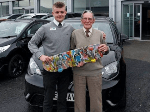 93-year-old man trades in skateboard to get £2,000 discount on new car