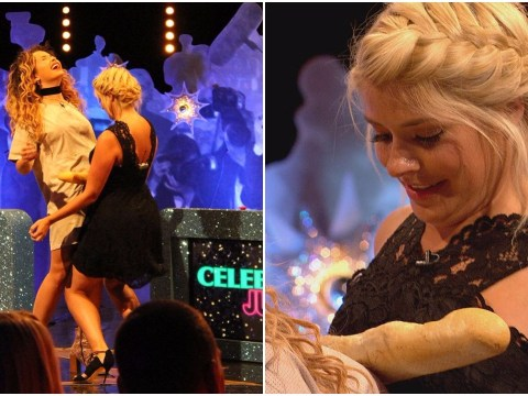 Holly uses her Willoughboobies to roll a baguette down her body in Keith Lemon challenge
