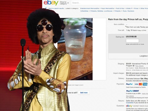 Somebody is trying to sell rain water from 'the day Prince left us' on eBay