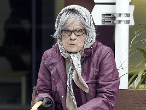 Can you guess which former soap star this is posing as an elderly woman?