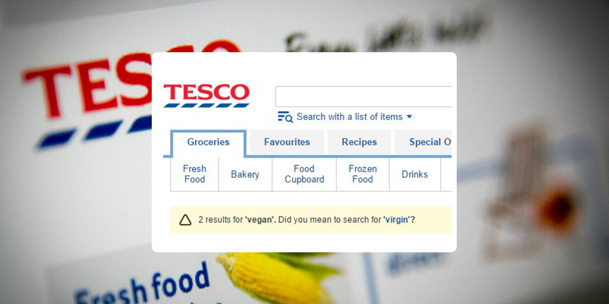 Here's what you get when you search for vegans on Tesco website