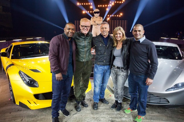 Programme Name: Top Gear 2016 - TX: n/a - Episode: Top Gear 2016 Blackpool (No. 1) - Picture Shows: Rory Reid, Chris Evans, The Stig, Matt LeBlanc, Sabine Schmitz, Chris Harris - (C) BBC World Wide - Photographer: BBC
