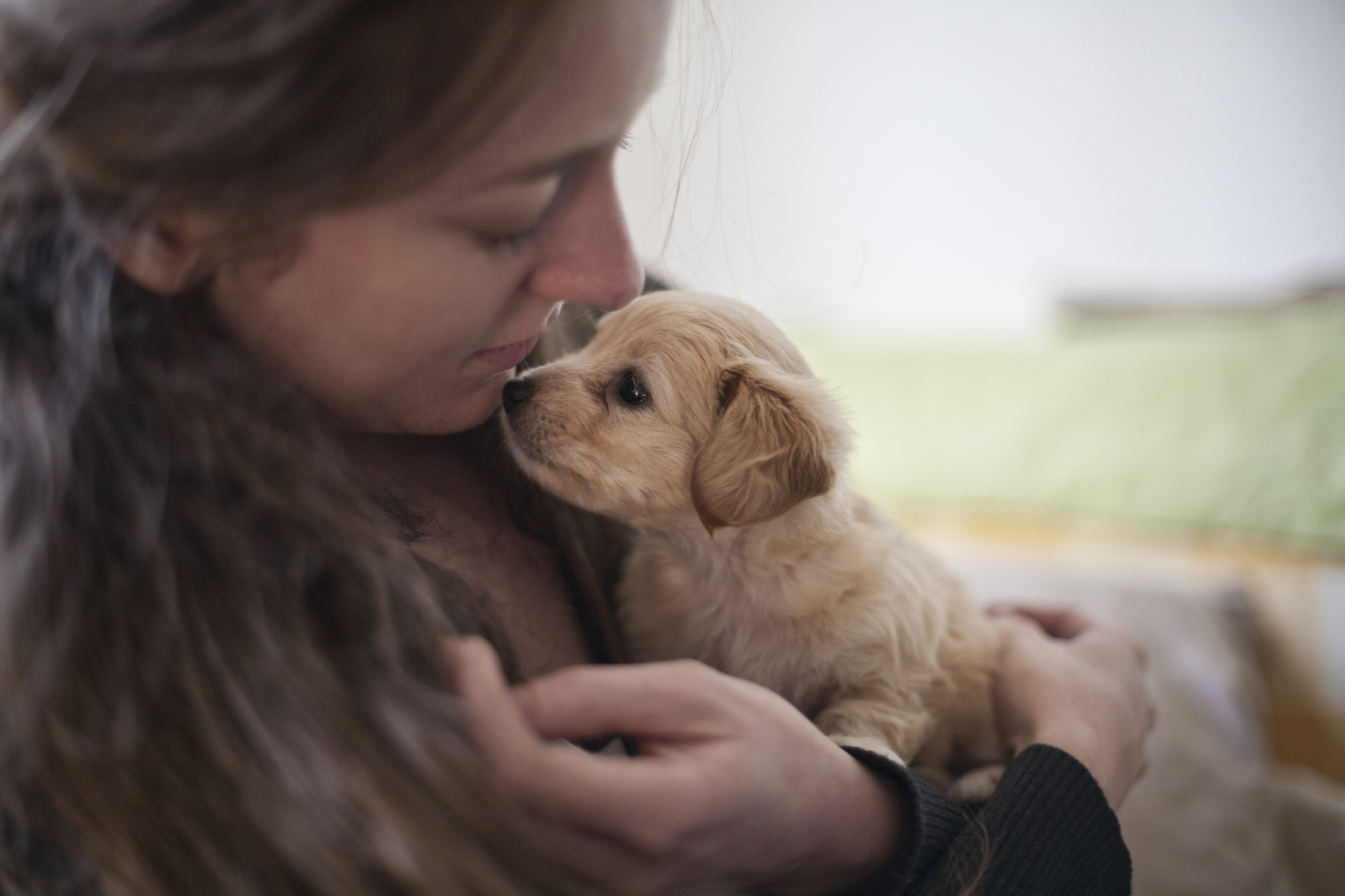 Young woman with puppy