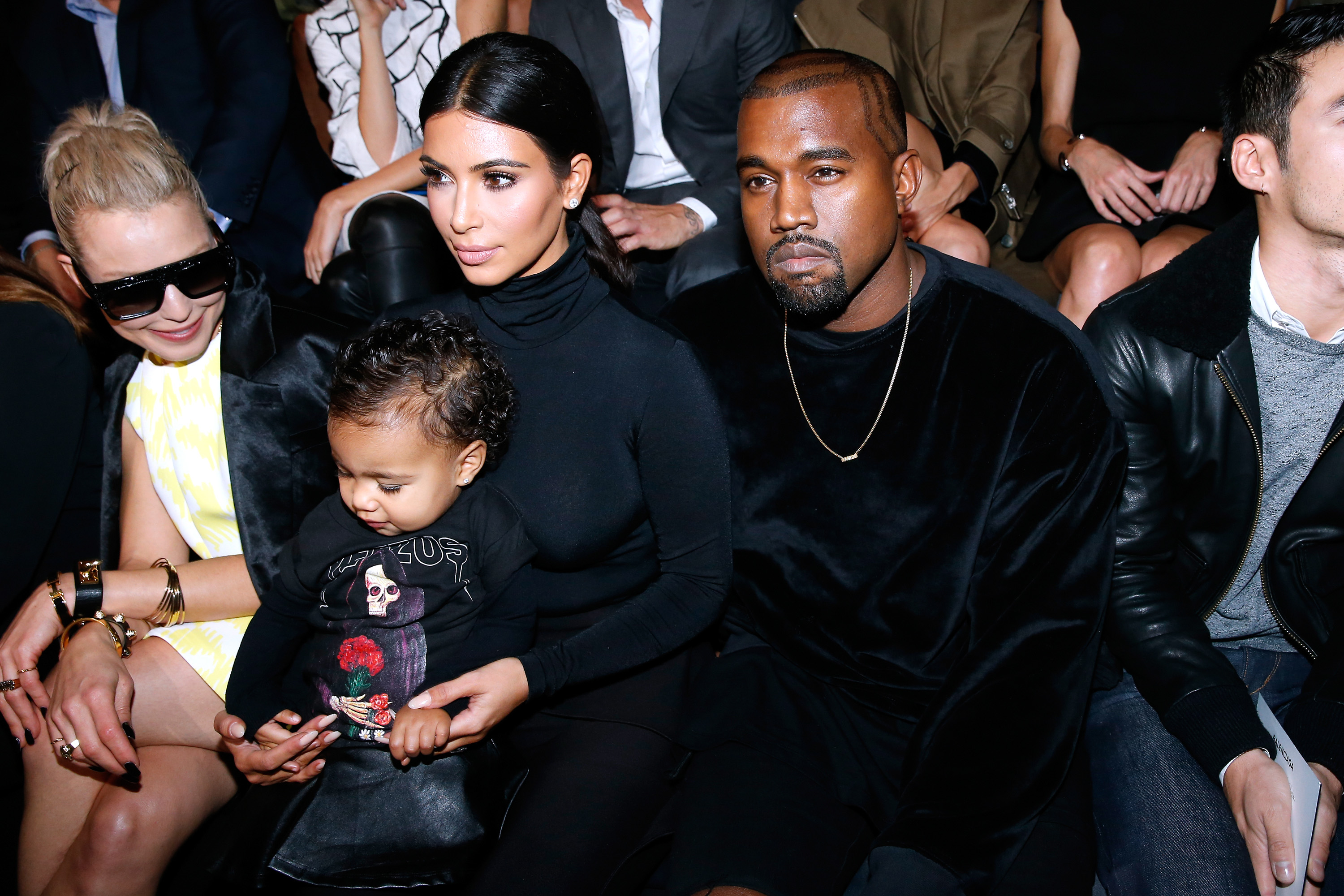 Happy family: Kanye West, Kim Kardashian and their daughter North West (Picture: Bertrand Rindoff Petroff/French Select/Getty Images)