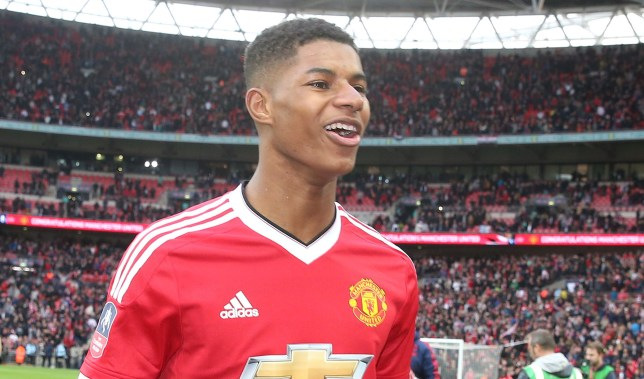 LONDON, ENGLAND - APRIL 23: Marcus Rashford of Manchester United celebrates at the final whistle of the Emirates FA Cup Semi Final match between Manchester United and Everton at Wembley Stadium on April 23, 2016 in London, England. (Photo by Matthew Peters/Man Utd via Getty Images)