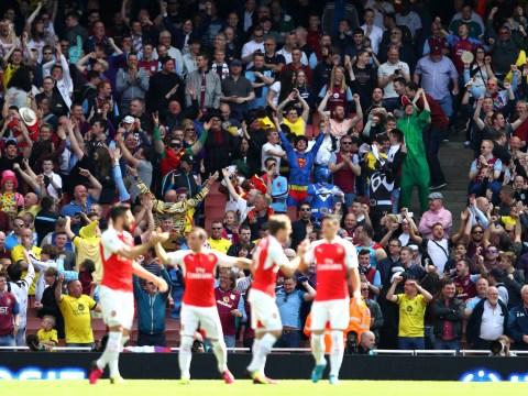 Aston Villa fans wildly celebrate Olivier Giroud's goal for Arsenal