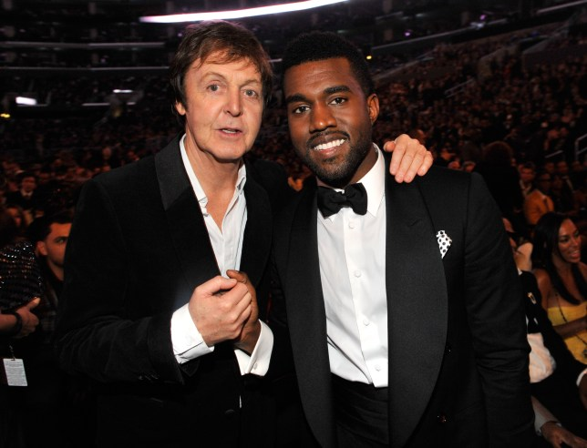 (EXCLUSIVE, Premium Rates Apply) LOS ANGELES, CA - FEBRUARY 08: *EXCLUSIVE* Sir Paul McCartney and Kanye West at the 51st Annual GRAMMY Awards at the Staples Center on February 8, 2009 in Los Angeles, California. (Photo by Kevin Mazur/WireImage)