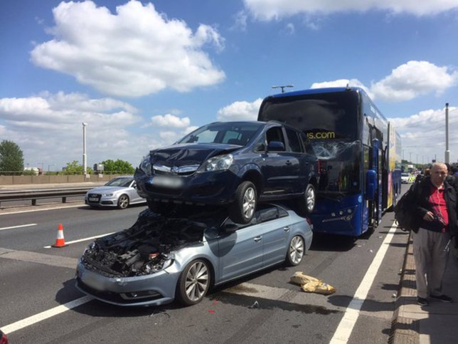 6-vehicle pile-up,including a MegaBus coach on the M6