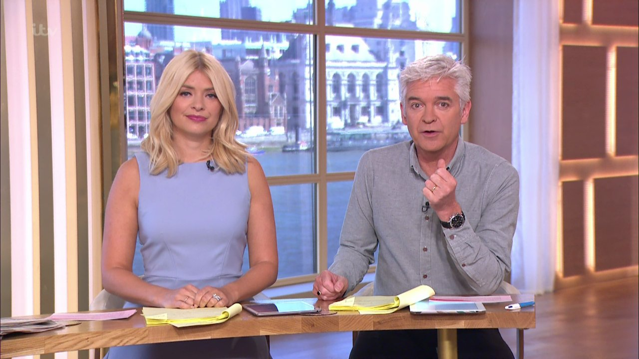 This Morning. Broadcast on ITV1HD Featuring: Holly Willoughby, Phillip Schofield When: 04 May 2016 Credit: Supplied by WENN **WENN does not claim any ownership including but not limited to Copyright, License in attached material. Fees charged by WENN are for WENN's services only, do not, nor are they intended to, convey to the user any ownership of Copyright, License in material. By publishing this material you expressly agree to indemnify, to hold WENN, its directors, shareholders, employees harmless from any loss, claims, damages, demands, expenses (including legal fees), any causes of action, allegation against WENN arising out of, connected in any way with publication of the material.**