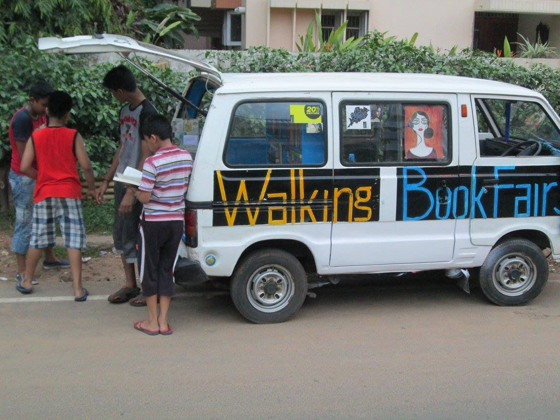 Mobile library to encourage people to read Credit: Walking BookFairs