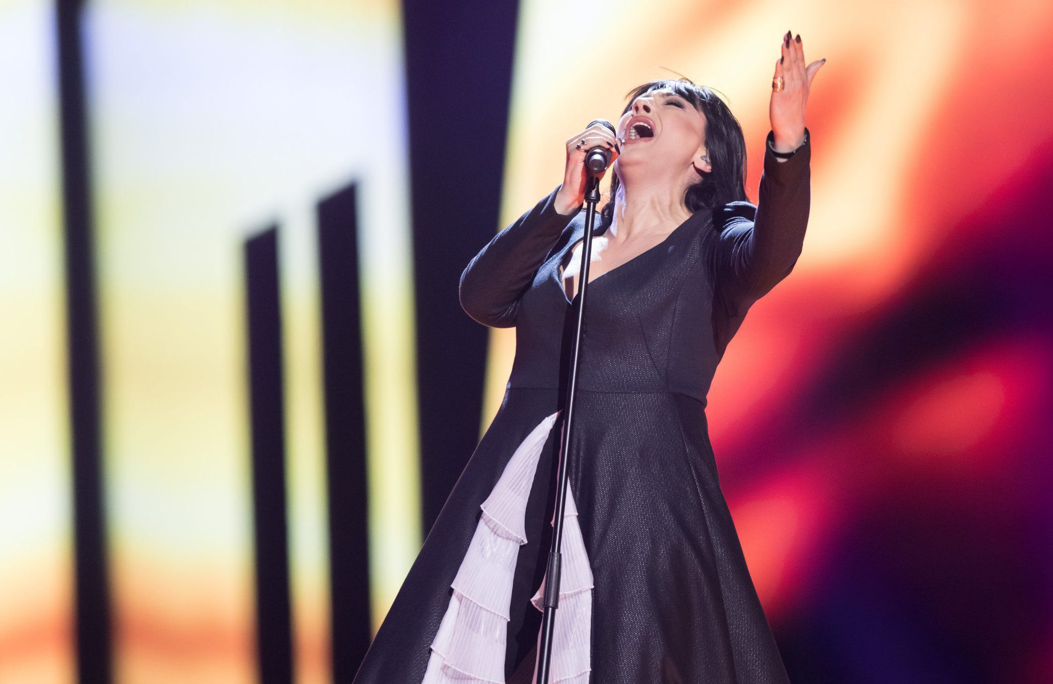 """Mandatory Credit: Photo by Rolf Klatt/REX/Shutterstock (5682998b) Kaliopi of Macedonia performs her song """"Dona"""" at the second semi-final show of the Eurovision Song Contest 2016 in Stockholm, Sweden on May 12, 2016. Eurovision Song Contest, Semi Finals, Stockholm, Sweden - 12 May 2016"""