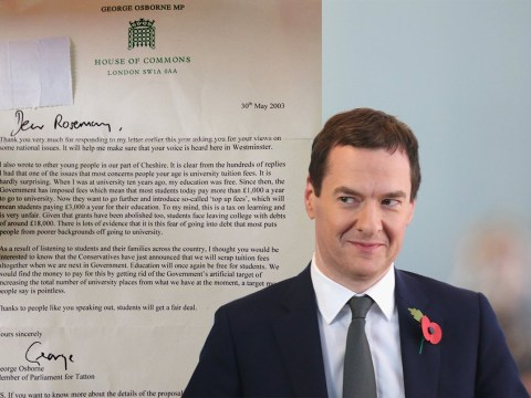 Tuition fee letter from 2003 has come back to haunt George Osborne