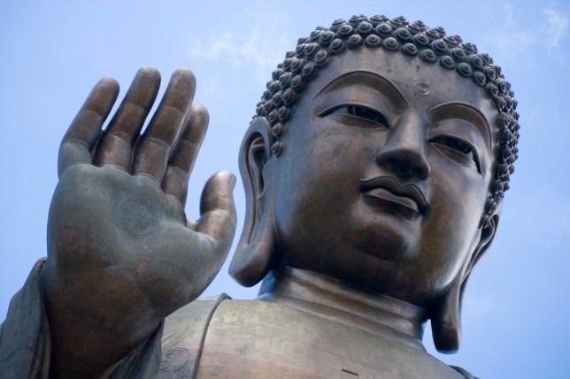 Detail of Tian Tan Buddha statue, Lantau Island.