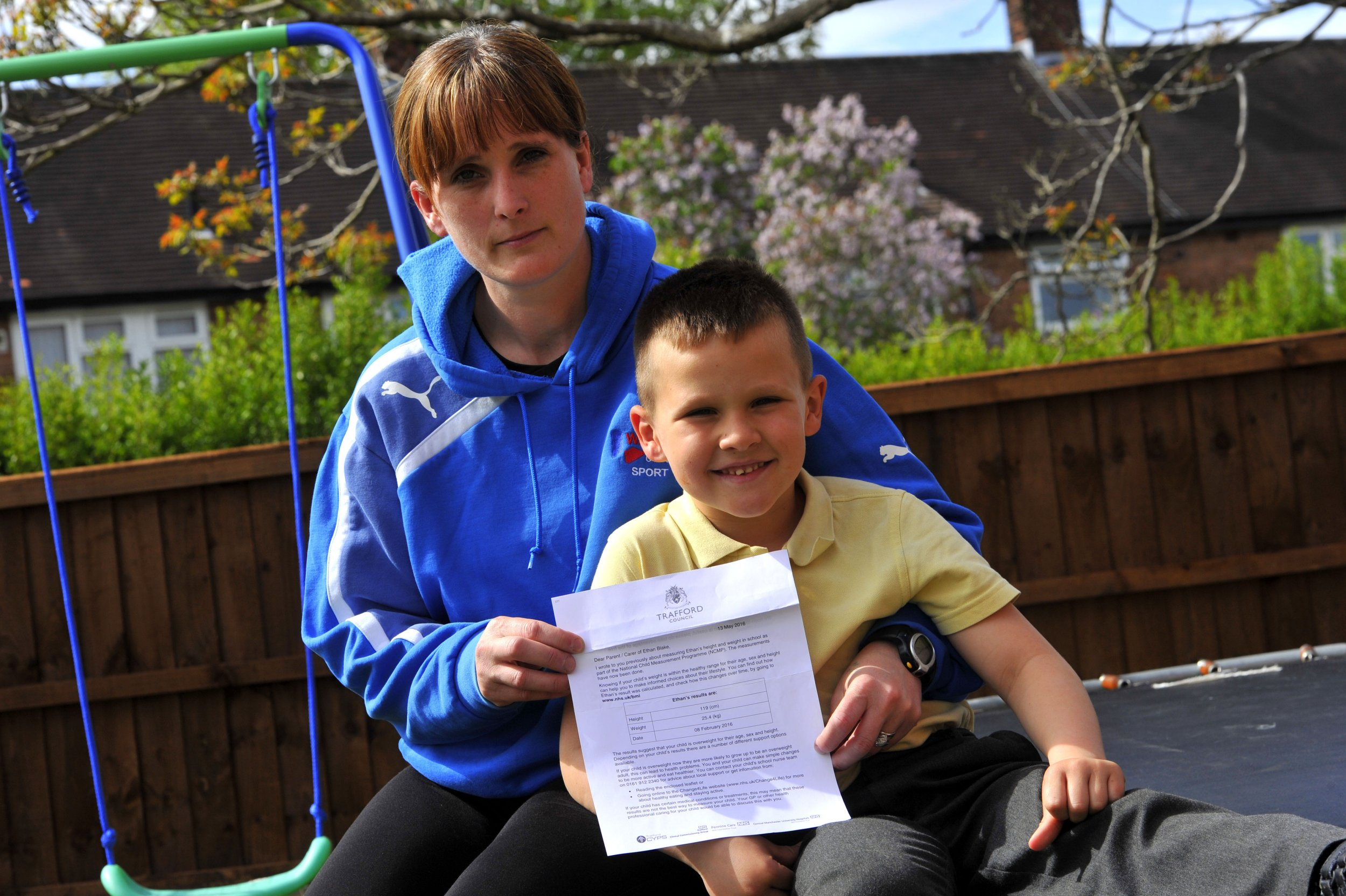 MEN SYNDICATIONnMum Michelle Blake with some Ethan at there home in Timperley, Cheshire nEthan who does karate four times a week has been told he is too fat in a letter from Trafford council.nVincent Cole/MEN