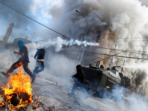 Pictured: Violent protests in Chile leave one dead