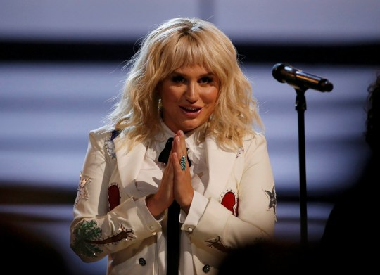 """Kesha gestures after she performed """"It Ain't Me Babe"""" at the 2016 Billboard Awards in Las Vegas, Nevada, U.S., May 22, 2016. REUTERS/Mario Anzuoni TPX IMAGES OF THE DAY"""