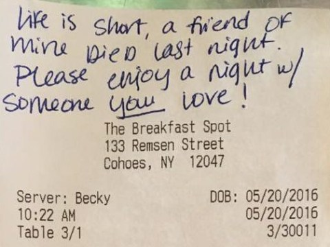 Grieving customer gives waitress $80 tip to 'enjoy a night' with someone she loves