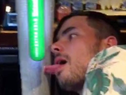 Man gets tongue stuck to frozen beer pump in busy bar