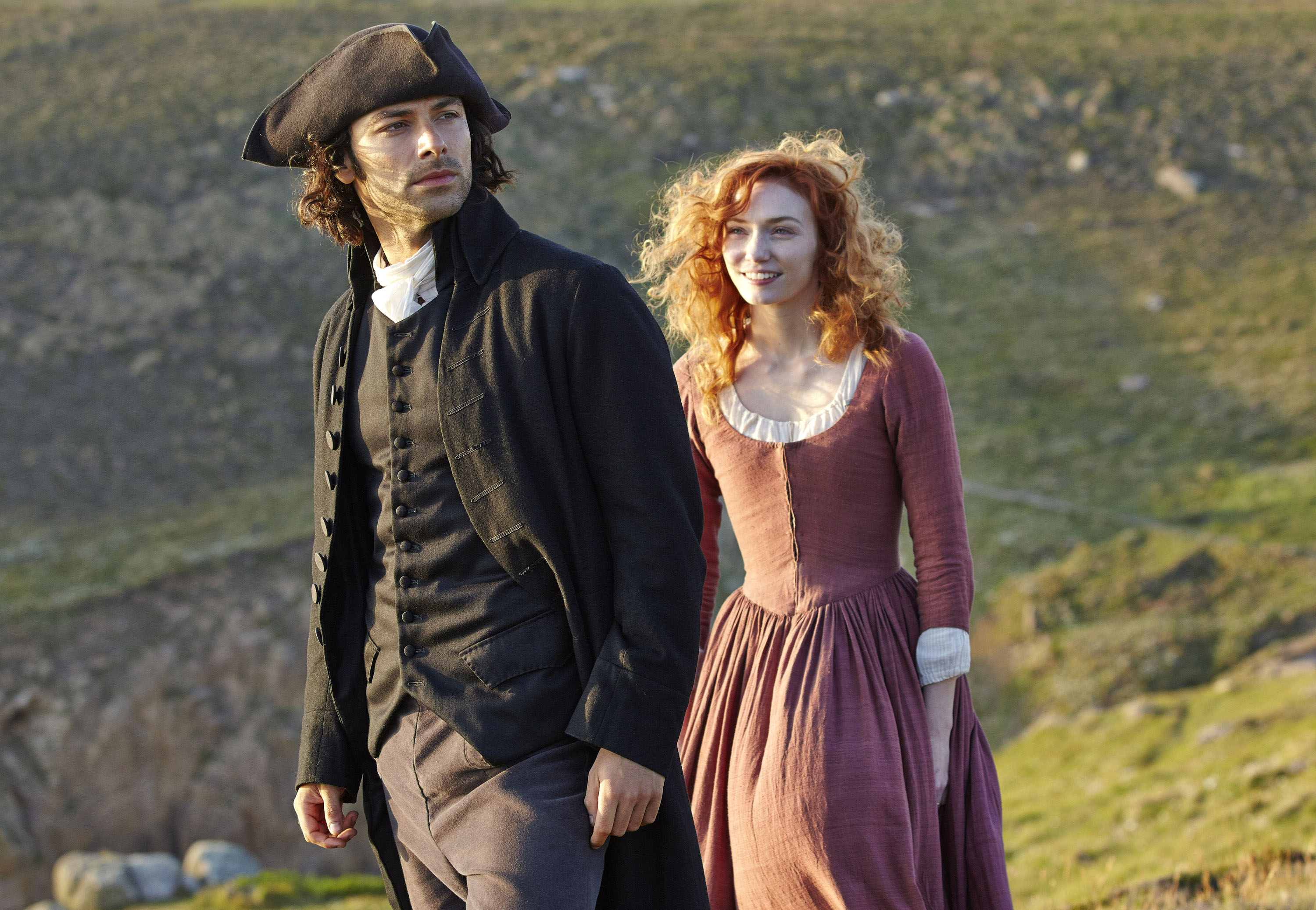 Poldark Sundays, June 21 - August 2, 2015 on MASTERPIECE on PBS Part Four Sunday, July 12, 9:00 - 10:00pm ET The community awaits news of the fish harvest. Poldark's copper mine struggles. Demelza must get used to a new way of life. Shown from left to right: Aidan Turner as Ross Poldark and Eleanor Tomlinson as Demelza (C) Robert Viglasky/Mammoth Screen for MASTERPIECE This image may be used only in the direct promotion of MASTERPIECE. No other rights are granted. All rights are reserved. Editorial use only