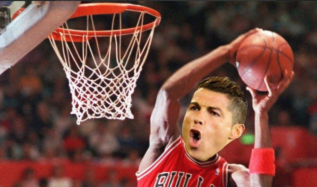 Should Ronaldo be playing basketball instead? (Picture: Twitter)