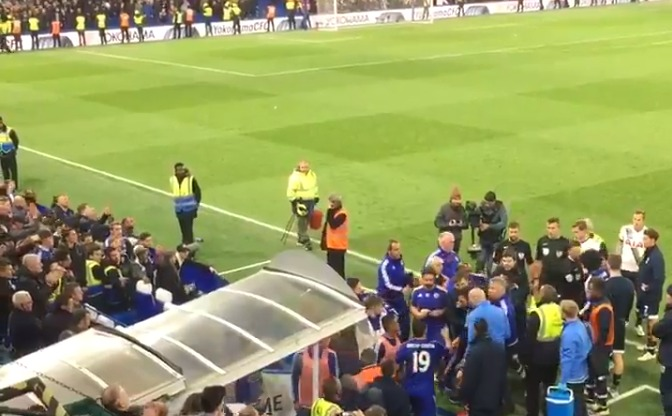 Chelsea boss Guus Hiddink knocked over in melee after Tottenham match