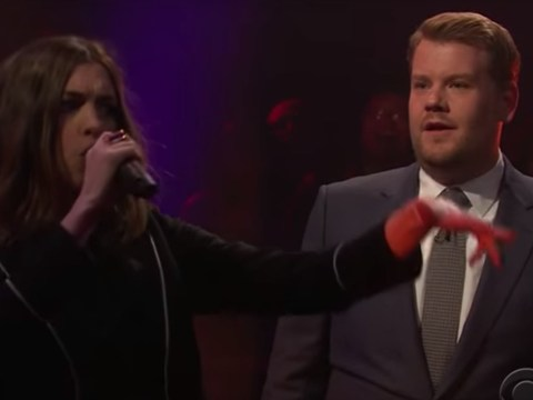 James Corden mocks Anne Hathaway's British accent and she mocks his weight in the most EPIC rap battle EVER
