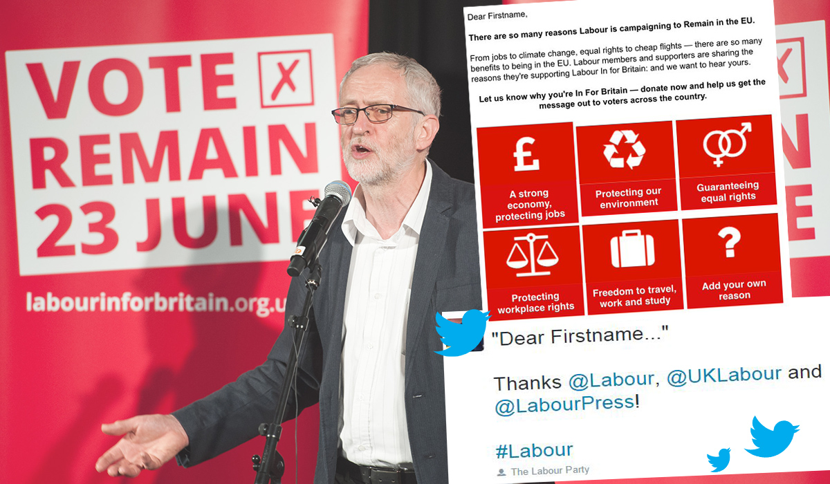 Whoops! Labour made a mistake on an email and now everyone's poking fun Credit: Rex/ Twitter