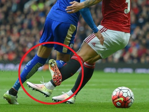 Pictures suggest Leicester City's Riyad Mahrez was fouled by Manchester United's Marcos Rojo in the penalty area