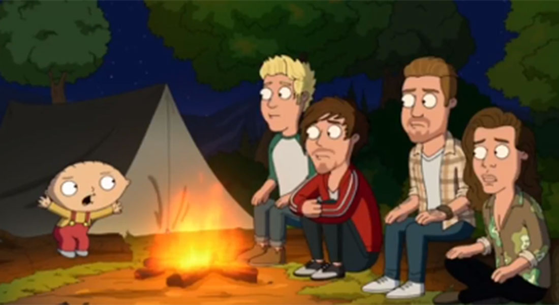 Here's your first look at One Direction being scared silly by Stewie in Family Guy