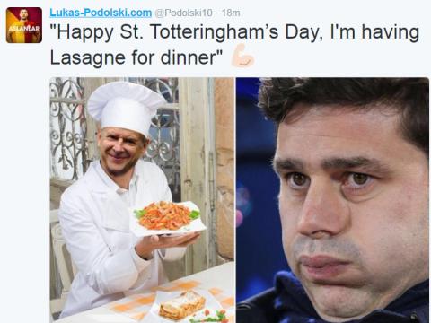 Ex-Arsenal man Lukas Podolski celebrates St Totteringham's Day by trolling Tottenham on Twitter