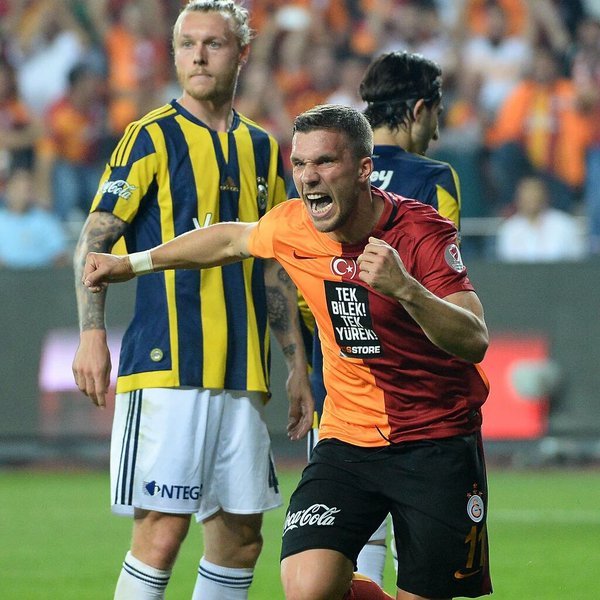 Former Arsenal man Lukas Podolski scores for Galatasaray in Turkish cup final