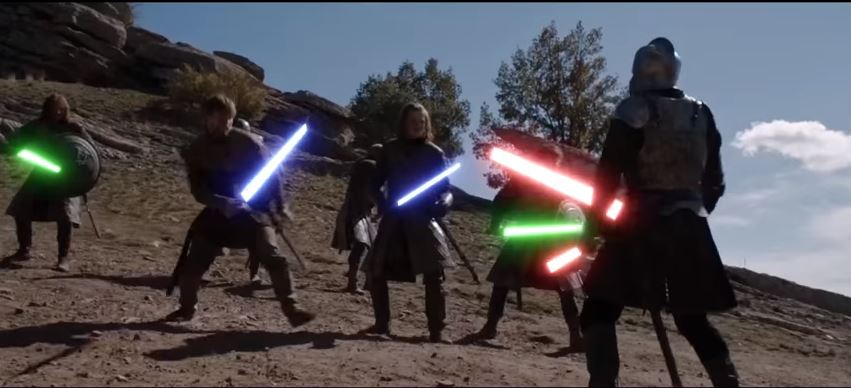 Check out that Game Of Thrones Tower of Joy fight  – improved with lightsabers