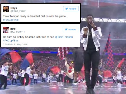 Tinie Tempah trolled after performing ahead of FA Cup final between Manchester United and Crystal Palace