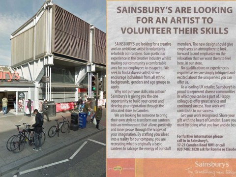 Sainsbury's wanted an unpaid artist to paint their canteen for 'experience' and now #PayArtists is trending