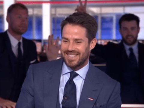 Andrew Flintoff and Jack Whitehall distract Liverpool legend Jamie Redknapp during Sky Sports News broadcast
