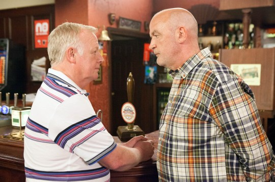 FROM ITV STRICT EMBARGO - No Use Before Tuesday 28 June 2016 Coronation Street - Ep 8937 Monday 4 July 2016 - 2nd Ep Steph Britton [TISHA MERRY], Andy Carver [OLIVER FARNWORTH] and Michael Rodwell [LES DENNIS] approach Eileen Grimshaw [SUE CLEAVER] and Phelan [CONNOR McINTYRE] and confirm that they're happy with the rent increase as Michael has agreed to move in. Eileen's delighted while Phelan quietly fumes. Taking Phelan to one side, Michael warns him that he might have Eileen fooled, but not him. Picture contact: david.crook@itv.com on 0161 952 6214 Photographer - Mark Bruce This photograph is (C) ITV Plc and can only be reproduced for editorial purposes directly in connection with the programme or event mentioned above, or ITV plc. Once made available by ITV plc Picture Desk, this photograph can be reproduced once only up until the transmission [TX] date and no reproduction fee will be charged. Any subsequent usage may incur a fee. This photograph must not be manipulated [excluding basic cropping] in a manner which alters the visual appearance of the person photographed deemed detrimental or inappropriate by ITV plc Picture Desk. This photograph must not be syndicated to any other company, publication or website, or permanently archived, without the express written permission of ITV Plc Picture Desk. Full Terms and conditions are available on the website www.itvpictures.com
