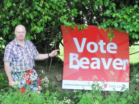 Heartless vandals deface man's Vote Leave poster