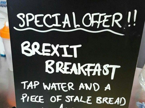 'Brexit breakfast' offers 'tap water and a piece of stale bread' for £10